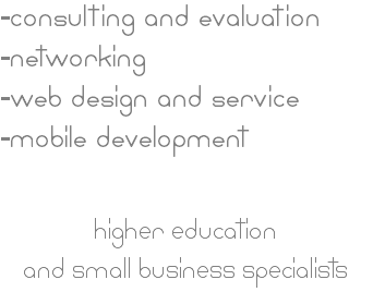 -consulting and evaluation -networking -web design and service -mobile development higher education